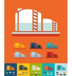 Flat design oil towers vector