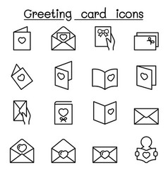 greeting card icon set in thin line style vector image