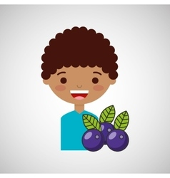 Happy boy with delicious plums fruit design vector