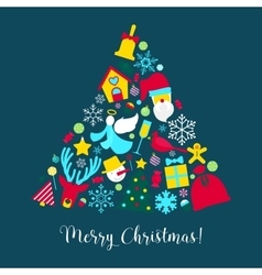 Merry christmas greeting card with christmas tree vector