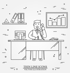 Office man business man thin line icon for web an vector