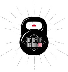 One black kettlebell on white background with vector image