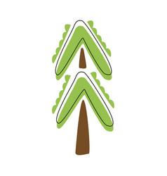 Outdoor decorative green fir tree cute fairy tale vector