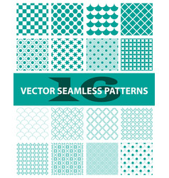 Pack of 16 turquoise seamless patterns abstract vector