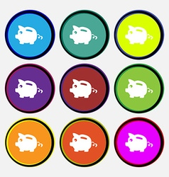 Piggy bank icon sign Nine multi colored round vector image