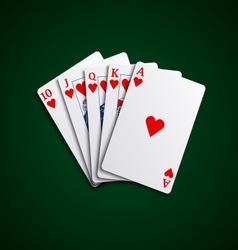Pocker cards flush hearts hand vector