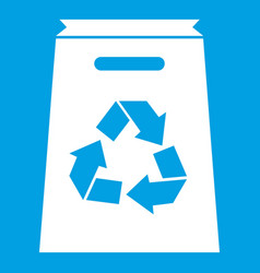 Recycle shopping bag icon white vector