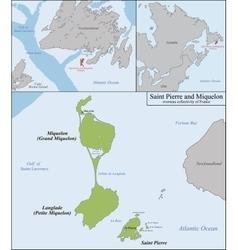 Saint Pierre and Miquelon map vector image