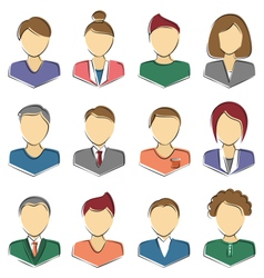 Set of business avatar office employees isolated vector