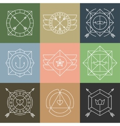Set of Hipster Emblems and Badges vector image vector image
