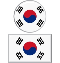 South korean round and square icon flag vector