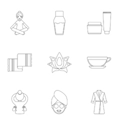 Spa set icons in outline style Big collection of vector image vector image