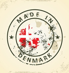 Stamp with map flag of denmark vector