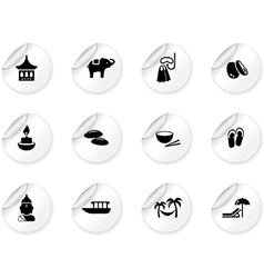 Stickers with thai icons vector image