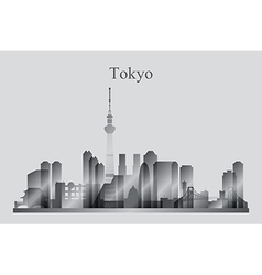 Tokyo city skyline silhouette in grayscale vector