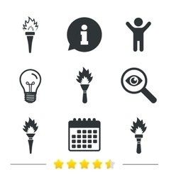 Torch flame icons Fire flaming symbols vector image vector image