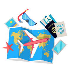Tourist concept set of things for traveling vector