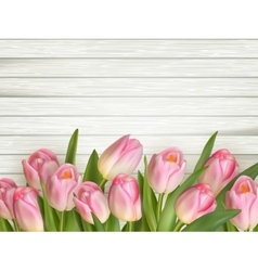 Tulip on the wooden background EPS 10 vector image