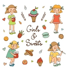 Girls and sweets vector image