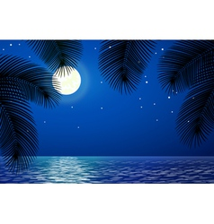 Sea landscape with the moon and palm trees vector