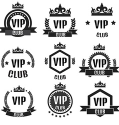 VIP club logos set in flat style vector image