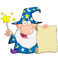 Funny wizard holding up a scroll vector