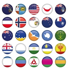 Antarctic and Russian Flags Round Buttons vector image