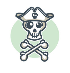 Skull in pirate hat with two crossed bones logo vector
