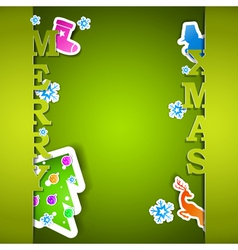 Merry xmas card with flakes vector