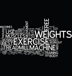 Free weights vs machine exercise text background vector