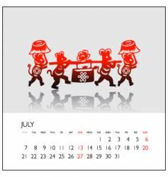 2008 calendar july vector