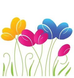 Abstract background with multicolored bright tulip vector