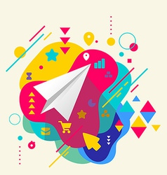Paper airplane on abstract colorful spotted vector