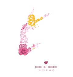Pink field flowers jumping girl silhouette vector
