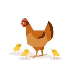 Chicken with chickens vector