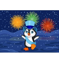 New year penguin vector