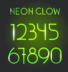 Glowing neon elements lighting digits set vector