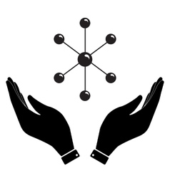 Molecule in hand icon vector