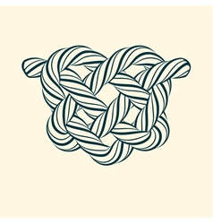 Decorative heart knot made of rope vector