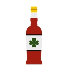 Beer bottle with a clover on the label icon vector