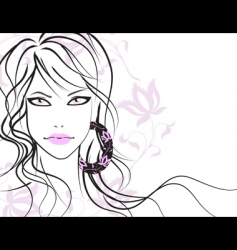 Beautiful girl with long hair vector