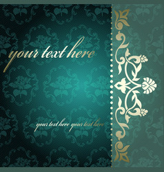 arabesque background in green and gold vector image vector image