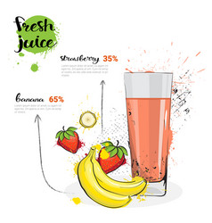 Banana strawberry mix cocktail of fresh juice hand vector