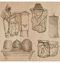 Bees beekeeping and honey - hand drawn pack 10 vector