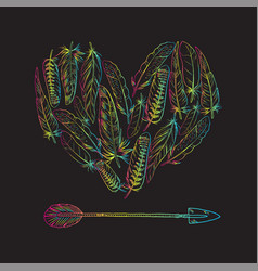 Boho elements heart of feathers and vector
