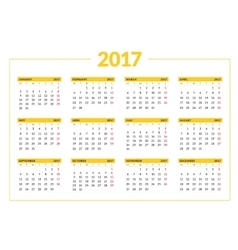 Calendar for 2017 year on white background vector image vector image
