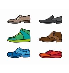 Color shoes icon set vector