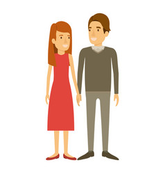 Colorful silhouette of man and woman standing and vector