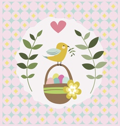 Easter design with basket and bird vector image
