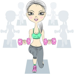 Fashion fitness girls lifting dumbbells vector